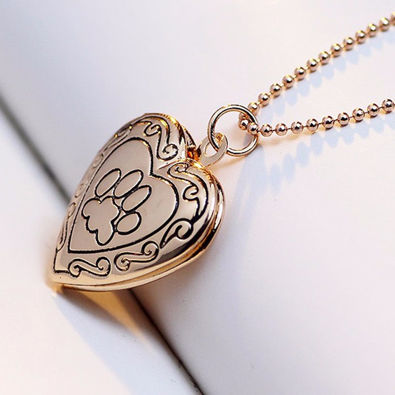 Paw-Heart Photo Memorial Locket Necklace