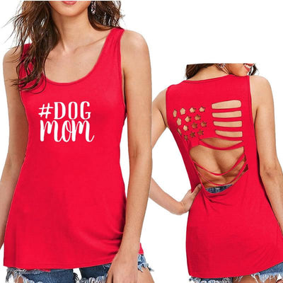Women's Hollow American Flag Tank Top - ''Dog Mom''