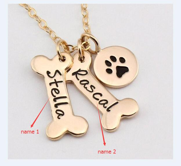 Personalized Dog Bone Pendant Necklace 1-9 Bones
