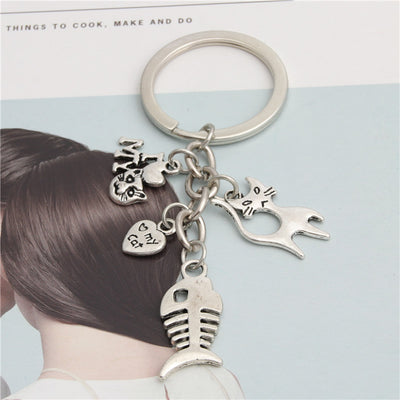 Cat-Fish Bone Charm Keychain - ''I Love My Cat''