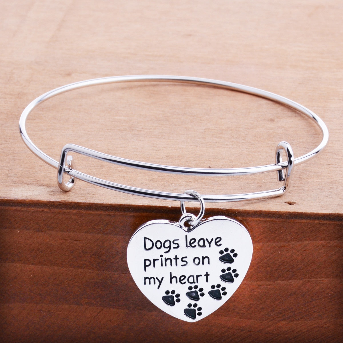 Women's Heart Charm Bangle Bracelet - ''Dogs Leave Prints On My Heart''
