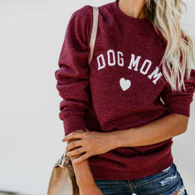 Women's Heart Print Sweatshirt - ''Dog Mom''