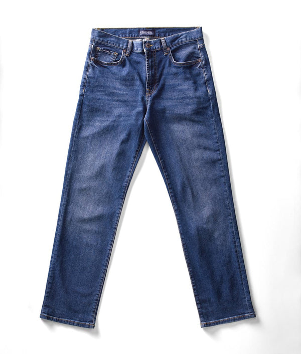 Front view of Edison Atlas North wash denim