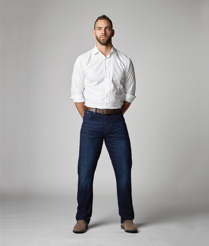 Front view of model wearing Edison Atlas Titan wash denim