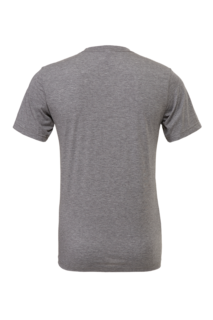 Wonder Goods t-shirt back view in heather gray.