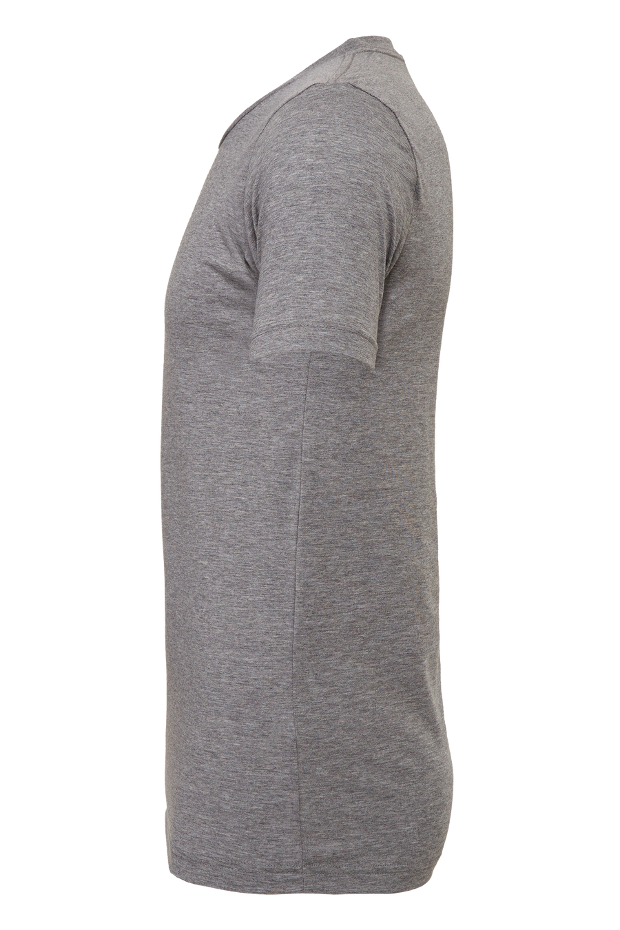 Wonder Goods t-shirt side view in heather gray.