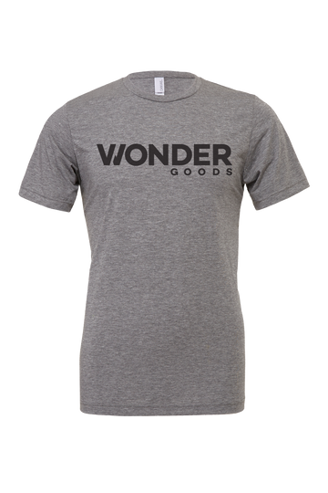 Wonder Goods t-shirt with classic logo in heather gray.