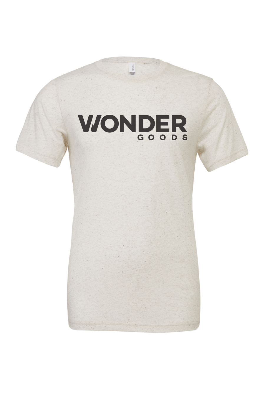 Wonder Goods t-shirt with classic logo in oatmeal.