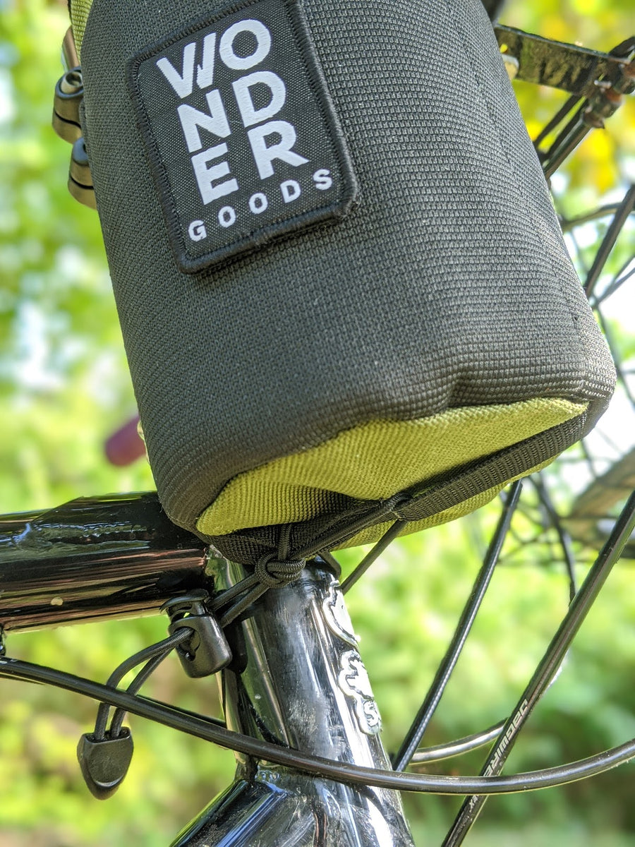 Olive snack pack stem bag bottom attachment mounted to bike view