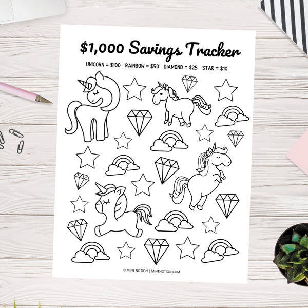 $1,000 Savings Tracker (Printable)