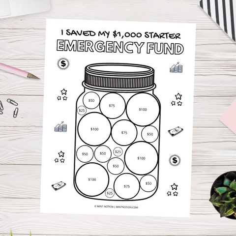 $1,000 Starter Emergency Fund (Printable)