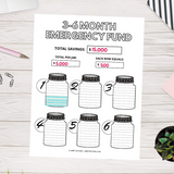 3-6 Month Emergency Fund Savings Tracker (Printable)