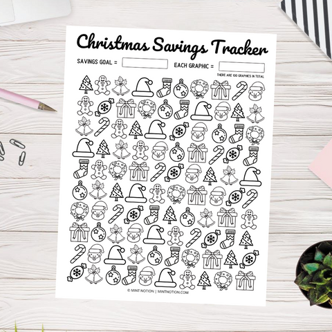Christmas Savings Tracker - Doodles (Printable)