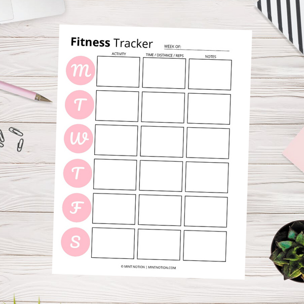 Fitness & Nutrition Tracker (Printable)