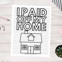 House Debt Payoff Coloring Page (Printable)