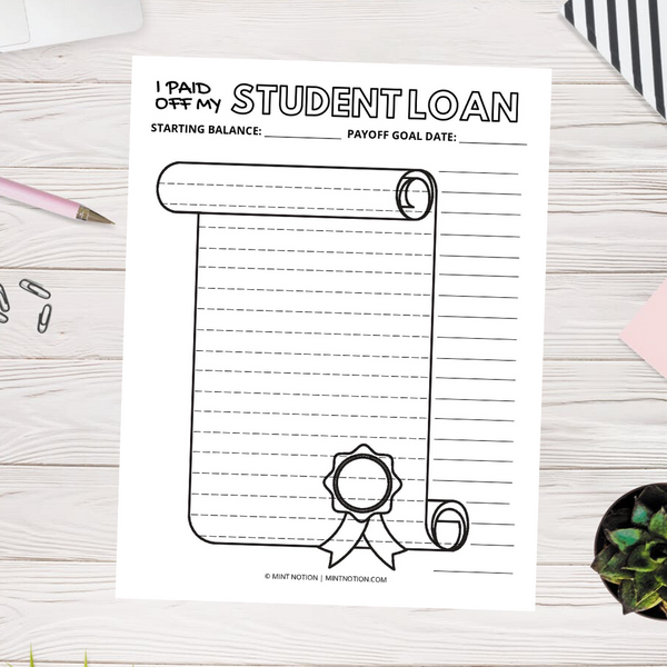 Student Loan Payoff Visual Chart (Printable)
