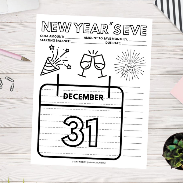 New Year's Eve Savings Tracker (Printable)