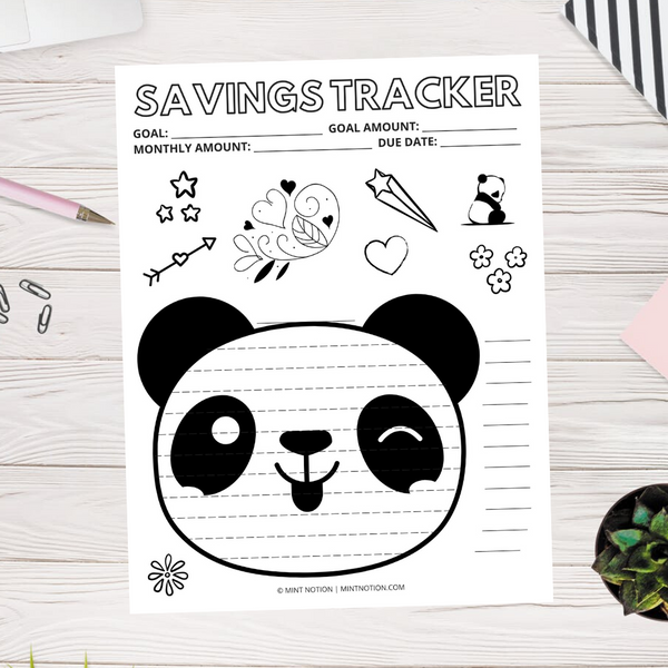 Panda Savings Tracker (Printable)