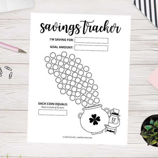 Pot of Gold Savings Tracker (Printable)