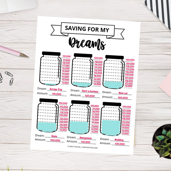 Dream Saving Jars (Printable)