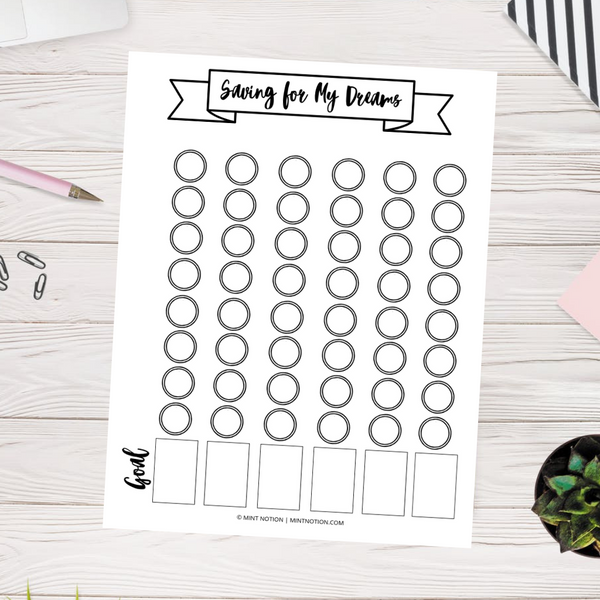 Saving for My Dreams Goal Tracker (Printable)