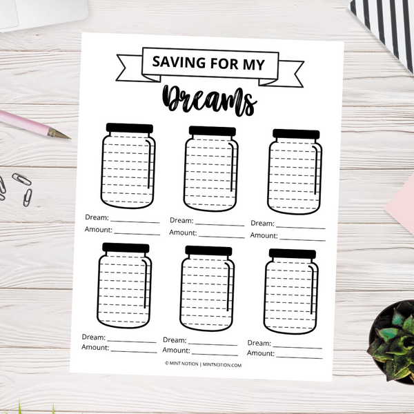 Saving For My Dreams Savings Tracker (Printable)