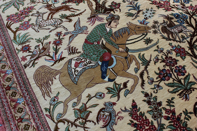 Pure Silk Hunting Scene by Master Bolandian