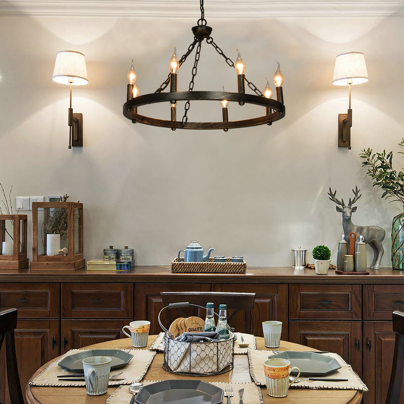 Canyon Home 8 Light Wagon Wheel Chandelier