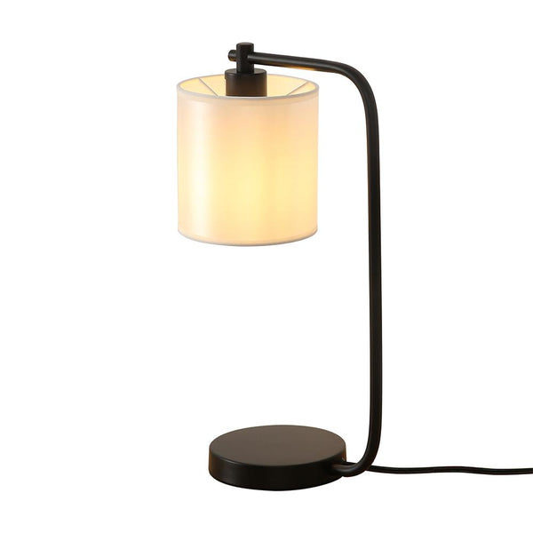 19 in. Black Industrial Iron Desk Lamp with Fabric Shade