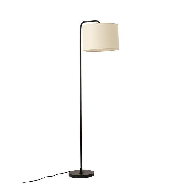 61 in. Black Metal Arched Floor Lamp with Fabric Shade