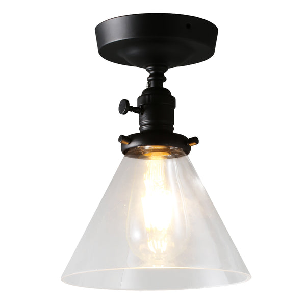 7.3 in. Black Metal Semi-Flush Mount Light with Shade