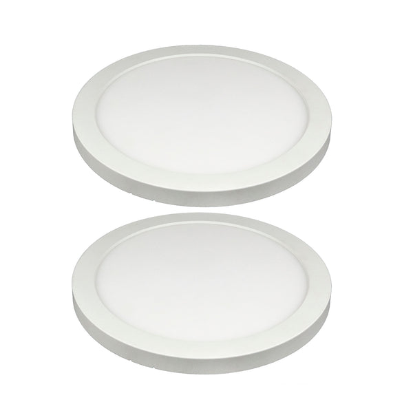 8-in Integrated LED Round Panel Ceiling Flush Mount 2Pack