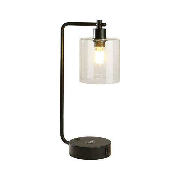 19 in. Clear Table Lamp with Wireless Charger and Glass Shade
