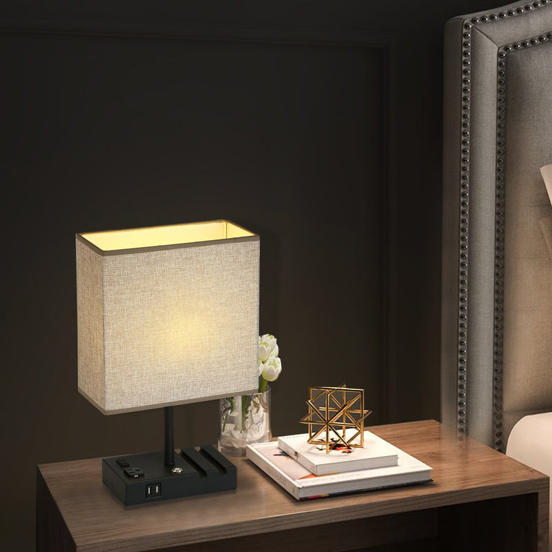 17 in. Grey Table Lamp with USB Port and Charging Dock