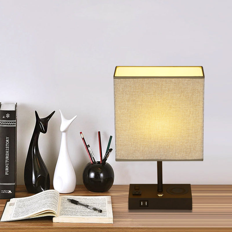 17 in. Black Wireless Charging Table Lamp with USB Port