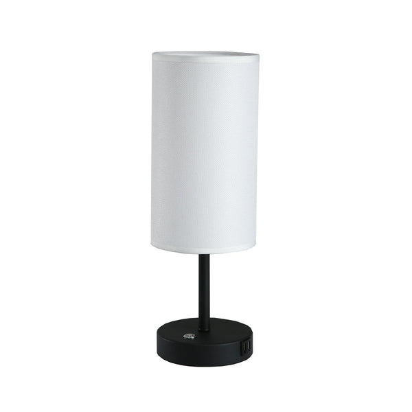 17 in. White Table Lamp with USB Port