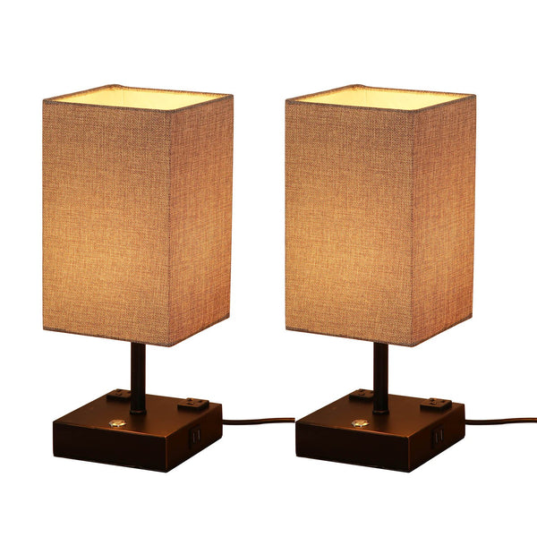 15 in. Black Desk lamp with Charging Outlet and USB Port Fabric Shade (set of 2)