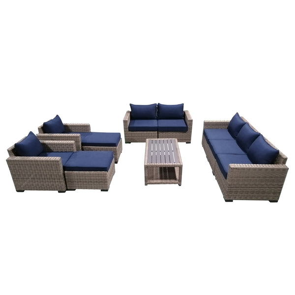 10-Piece Outdoor Pation Funiture Set Wicker Rattan Sectional Sofa Couch with Coffee Table