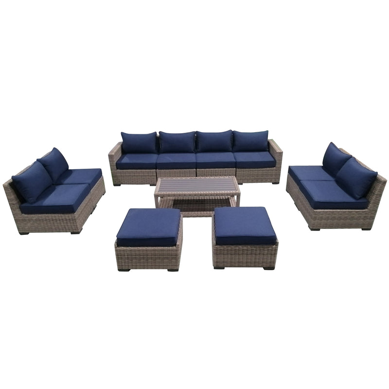 11-Piece Outdoor Pation Funiture Set Wicker Rattan Sectional Sofa Couch with Coffee Table