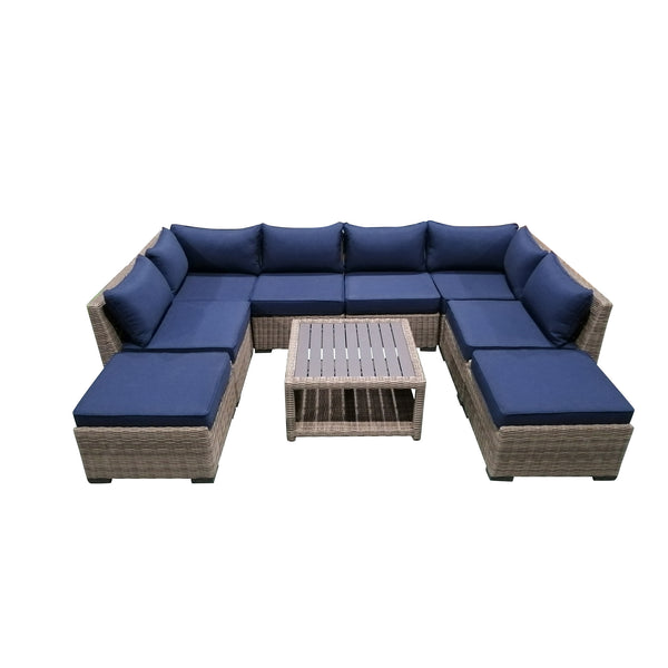 9-Piece Outdoor Pation Funiture Set Wicker Rattan Sectional Sofa Couch with Coffee Table