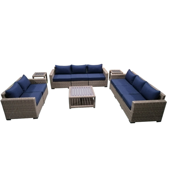 11-Piece Outdoor Pation Funiture Set Wicker Rattan Sectional Sofa Couch with Coffee Table and Side Table