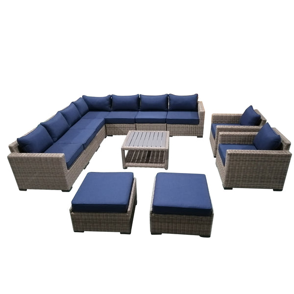 12-Piece Outdoor Pation Funiture Set Wicker Rattan Sectional Sofa Couch with Coffee Table