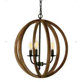 Farallon - Wood Pattern Globe Chandelier