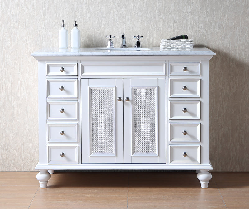 48 inch Rory White Single Sink Vanity with Carrara Marble Top