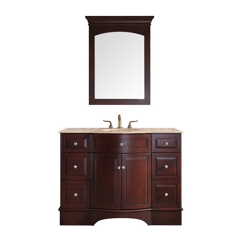 48 inch Lotus Single Sink Vanity with Travertine Marble Top and Mirror