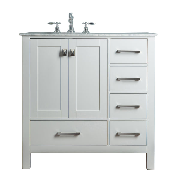 36 inch Malibu Pure White Single Sink Bathroom Vanity
