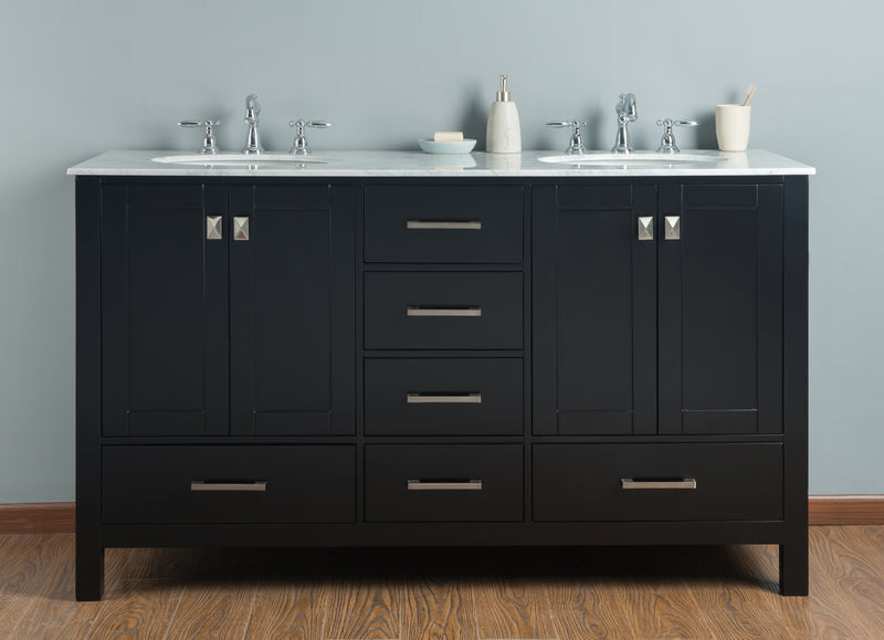 60 inch Malibu Espresso Double Sink Bathroom Vanity