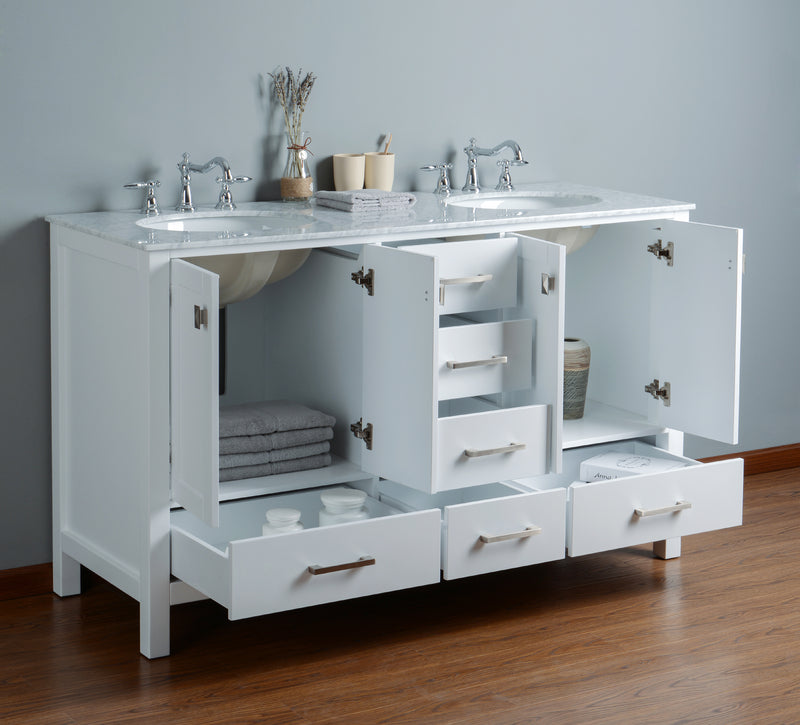 60 inch Malibu Pure White Double Sink Bathroom Vanity