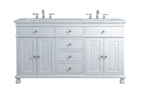 Abigail Embellished 60 Inches White Double Sink Bathroom Vanity