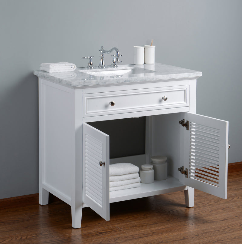 Genevieve 36 Inches White Single Vanity Cabinet w/ Shutter Double Doors Single Bathroom Sink